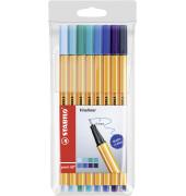 Fineliner point 88 Etui Blautöne mit 8 Stiften