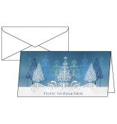 Weihnachtskarten Blue Trees Din Lang 10 Stück inkl. weißen Umschlägen DS030