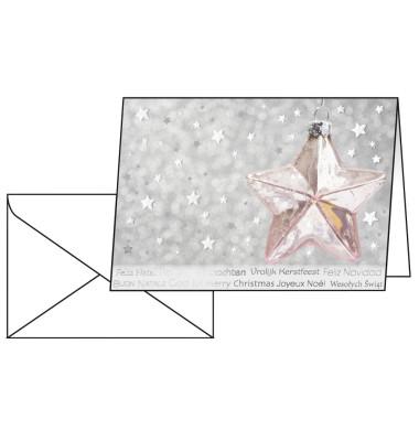 Weihnachtskarten Rose Star A6 10 Stück inkl. weißen Umschlägen DS031
