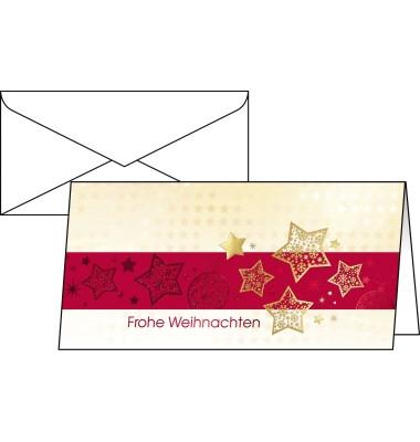 Weihnachtskarten Golden Stars Din Lang 10 Stück inkl. weißen Umschlägen DS033