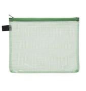 Reißverschlußtasche Mesh Bag PVC A5 244x190mm farblos/grün 10 Stück