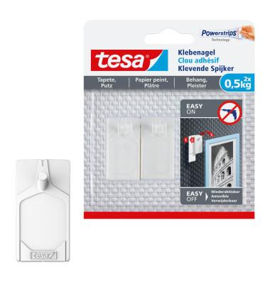 tesa klebenagel 77772 f r putz und tapete max 0 5kg wei 2 st ck. Black Bedroom Furniture Sets. Home Design Ideas