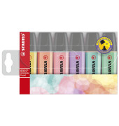 Textmarker Boss Original 6er Etui pastell farbig sortiert 2-5mm Keilspitze