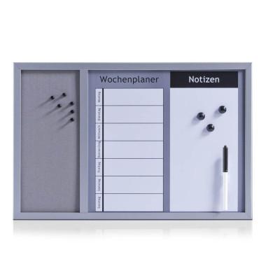 Kombitafel 11553, 60x40cm, Kork + Whiteboard (geteilt), pinnbar, beschreibbar, magnetisch, grau + weiß
