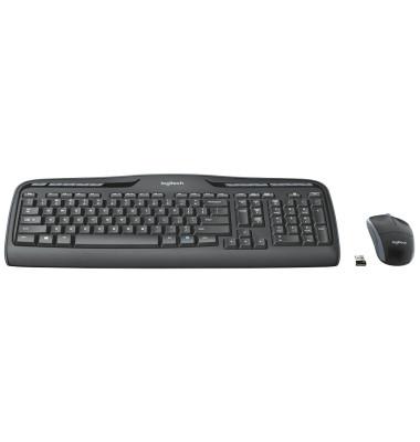 Tastatur-Maus-Set Wireless Combo MK330 920-008533, kabellos (USB-Funk), Sondertasten, Unifying-Empfänger, schwarz