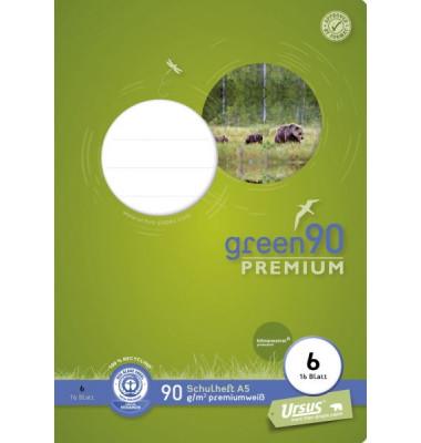 Schulheft green A5 Lineatur 6 blanko weiß 16 Blatt
