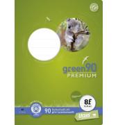 Schulheft green A5 Lineatur 8f rautiert mit Rand weiß 16 Blatt