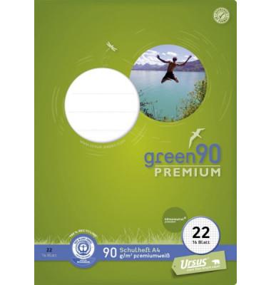 Schulheft green A4 Lineatur 22 kariert weiß 16 Blatt