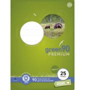 Schulheft green A4 Lineatur 25 liniert mit Rand weiß 16 Blatt