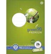 Schulheft green A4 Lineatur 26 kariert mit Rand weiß 16 Blatt