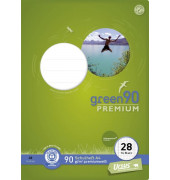 Schulheft green A4 Lineatur 28 kariert mit Doppelrand weiß 16 Blatt