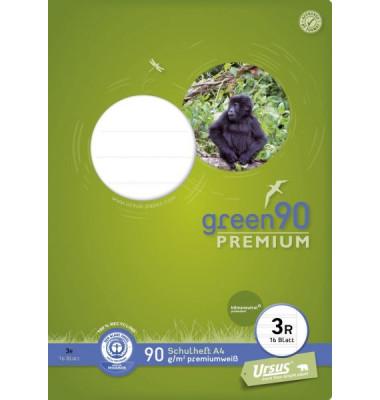 Schulheft green A4 Lineatur 3r liniert mit Rand weiß 16 Blatt