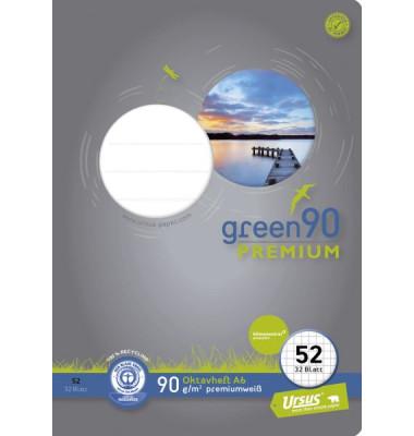 Oktavheft green A6 Lineatur 52 kariert weiß 32 Blatt