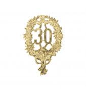 DEKORATIV 1225-30 8x12cm Jubiläumszahl 30 gold