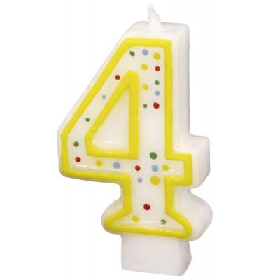Geburtstagskerze Zahl 4 gelb