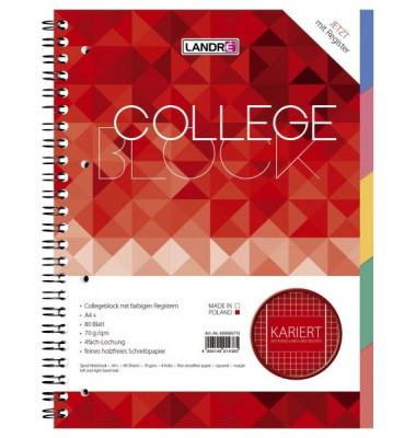 Collegeblock 400065715, A4 kariert, 70g 80 Blatt, 4-fach-Lochung, mit Register
