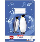 Schulheft Pinguin A4 Lineatur dm liniert mit Hilfsline weiß 16 Blatt
