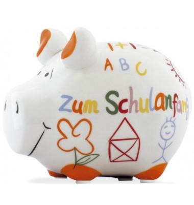 """Spardose Schwein """"Zum Schulanfang"""" weiß klein"""