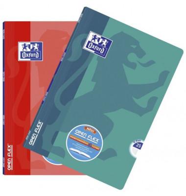 Schulheft OpenFlex A4 Lineatur 25 liniert mit Rand farbig sortiert 32 Blatt