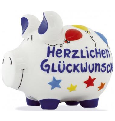 """Spardose Schwein """"Herzlichen Glückwunsch"""" weiß mittel"""