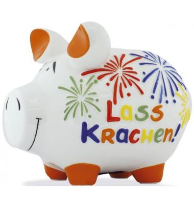 """Spardose Schwein """"Lass krachen!"""" weiß mittel"""