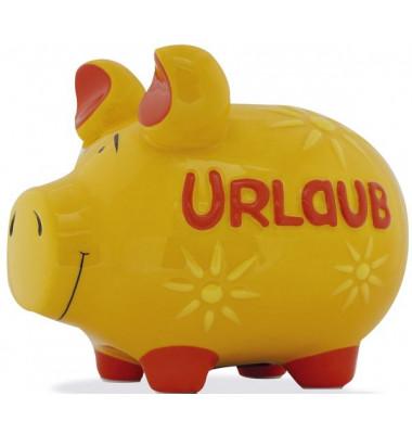 """Spardose Schwein """"Urlaub"""" gelb mittel"""