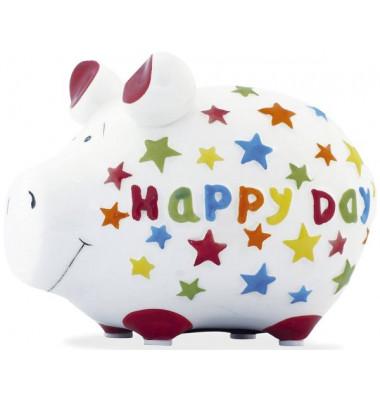 """Spardose Schwein """"Happy Day"""" weiß klein"""