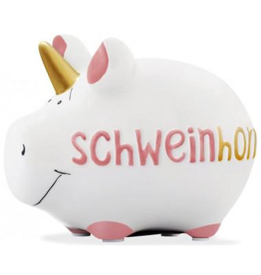 """Spardose Schwein """"Schweinhorn""""weiß klein"""
