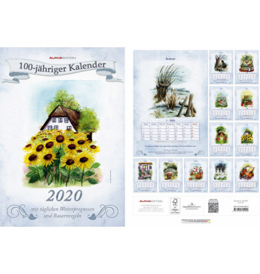 Bildkalender 100jährig 1Monat/1Seite 24x34 cm 2020