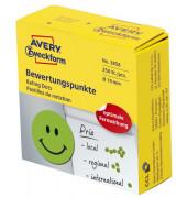 """""""3858 Bewertungspunkt """"""""lachender Smiley"""""""" - Ø 19 mm, Spender mit 250 Etiketten, grün"""""""