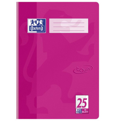 Schulheft Touch A4 Lineatur 25 liniert mit Rand pink 16 Blatt