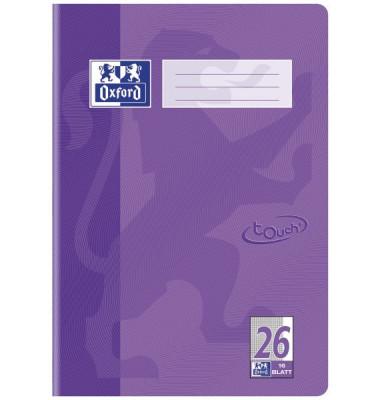Schulheft Touch A4 Lineatur 26 kariert mit Rand flieder 16 Blatt