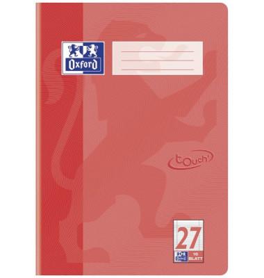 Schulheft Touch A4 Lineatur 27 liniert mit Doppelrand koralle 16 Blatt