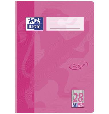 Schulheft Touch A4 Lineatur 28 kariert mit Doppelrand rosa 16 Blatt