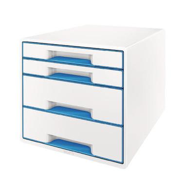 Leitz Schubladenbox 5213 Wow Cube perlweiß/blau metallic 4 Schubladen geschlossen
