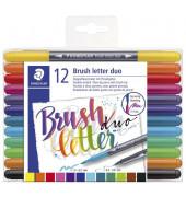 Fasermaler brushletter duo - 12 Farben, sortiert