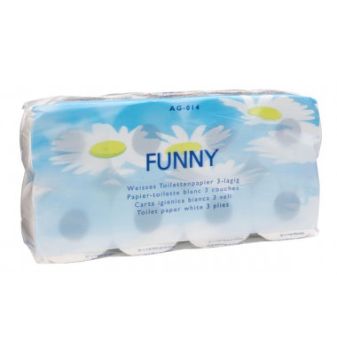 Toilettenpapier Funny - 3-lagig, weiß, 8 Rollen à 250 Blatt