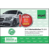 2 + 1 Aktion Fahrtenbuch für Pkw - mit Klammerheftung, A6 quer, 40 Blatt