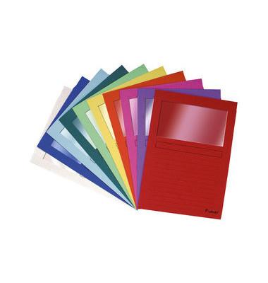 Sichtmappe Forever 5010 A4 120g Papier farbig sortiert für lose Blätter mit Sichtfenster 10 Stück