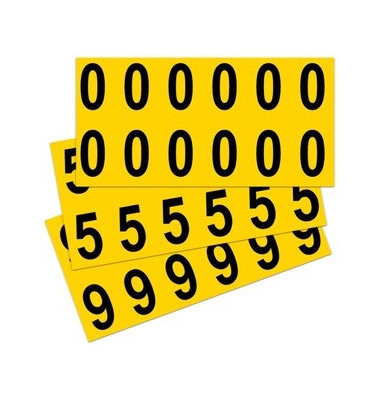 Beschriftungsetiketten 0-9 gelb 21x56mm 10 St