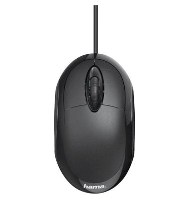 PC-Maus MC-100 182600, 3 Tasten, mit Kabel, USB-Kabel, optisch, schwarz