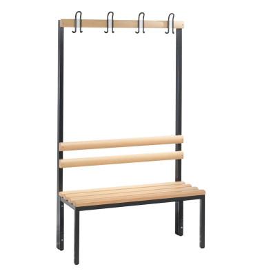 Garderobenbank Basic 8050-100, Holz, 100cm, freistehend, mit Hakenleiste, buche/anthrazit