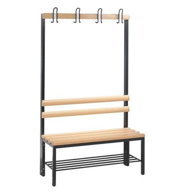 Garderobenbank Basic 8050-110, Holz, 100cm, freistehend, mit Hakenleiste, mit Schuhregal, buche/anthrazit