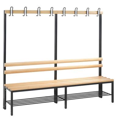 Garderobenbank Basic 8052-110,  Holz, 196cm, freistehend, mit Hakenleiste, mit Schuhregal, buche/anthrazit
