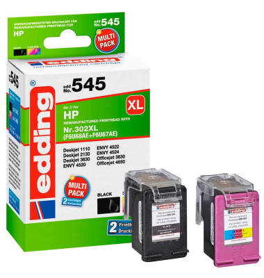 edding EDD-545 schwarz, color Tintenpatronen ersetzen HP 302XL