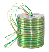 PRÄSENT Geschenkband Raffia glänzend grün/hellgrün/weiß