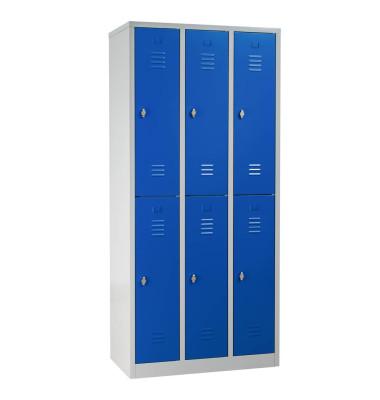 Spind 106124, Metall, 3 Abteile mit 6 Fächern, abschließbar (Schloss separat erhältlich), 90x195cm (BxH), blau