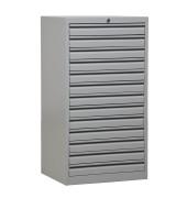 Schubladenschrank 100504, Stahl abschließbar, 13 Schubladen, A3, 53 x 98 x 43 cm, lichtgrau