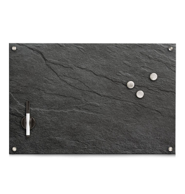 Glas-Magnettafel 60,0 x 40,0 cm Schiefer anthrazit