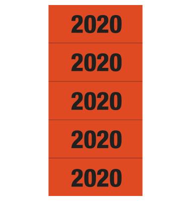 Jahreszahlen 2020 rot 60x26mm selbstklebend 100 Stück